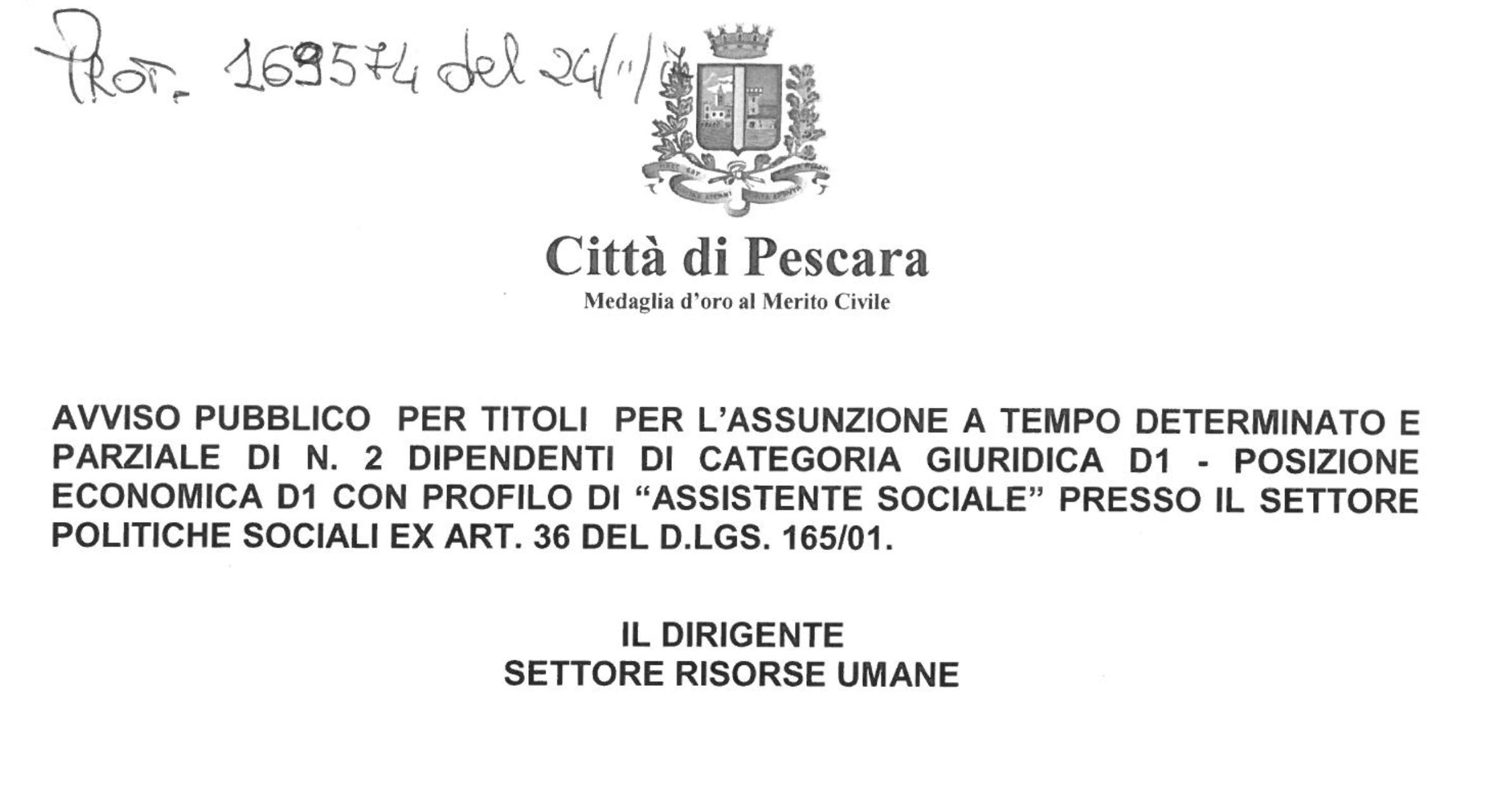 Comune di Pescara, due posti per Assistenti Sociali