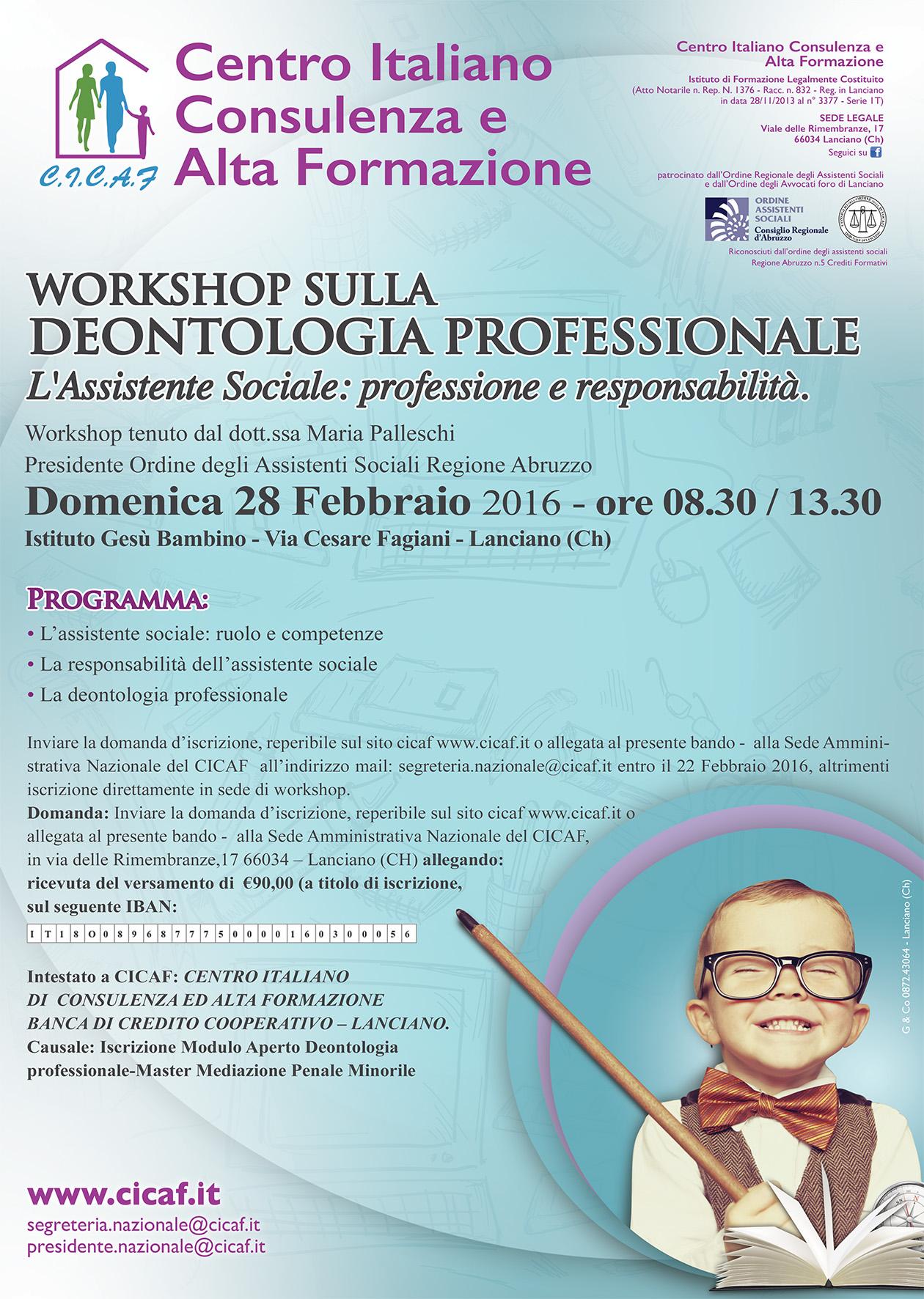 Domenica 28 Workshop sulla deontologia professionale