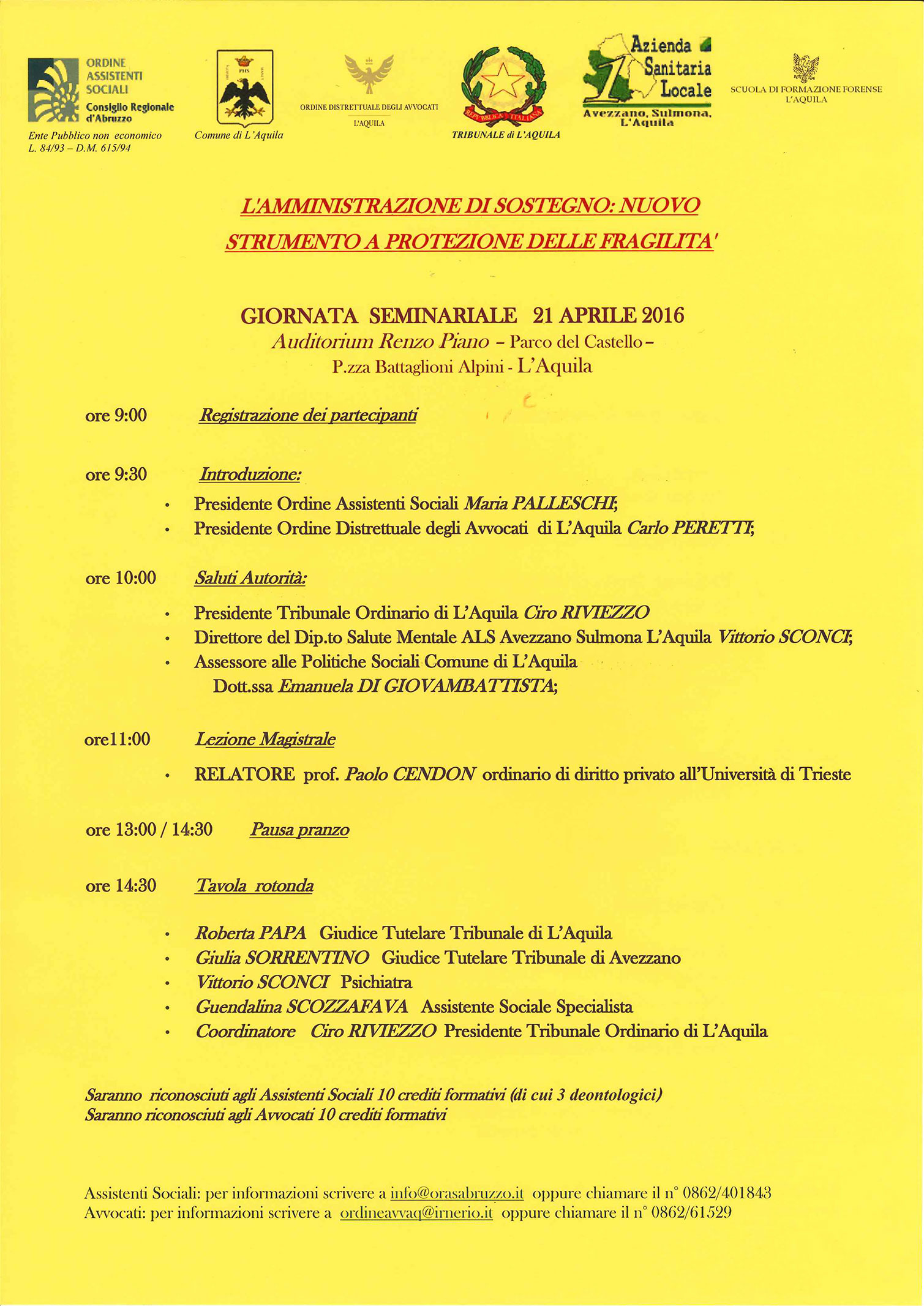 Iscrizioni chiuse per il seminario su 'l'Amministrazione di sostegno'