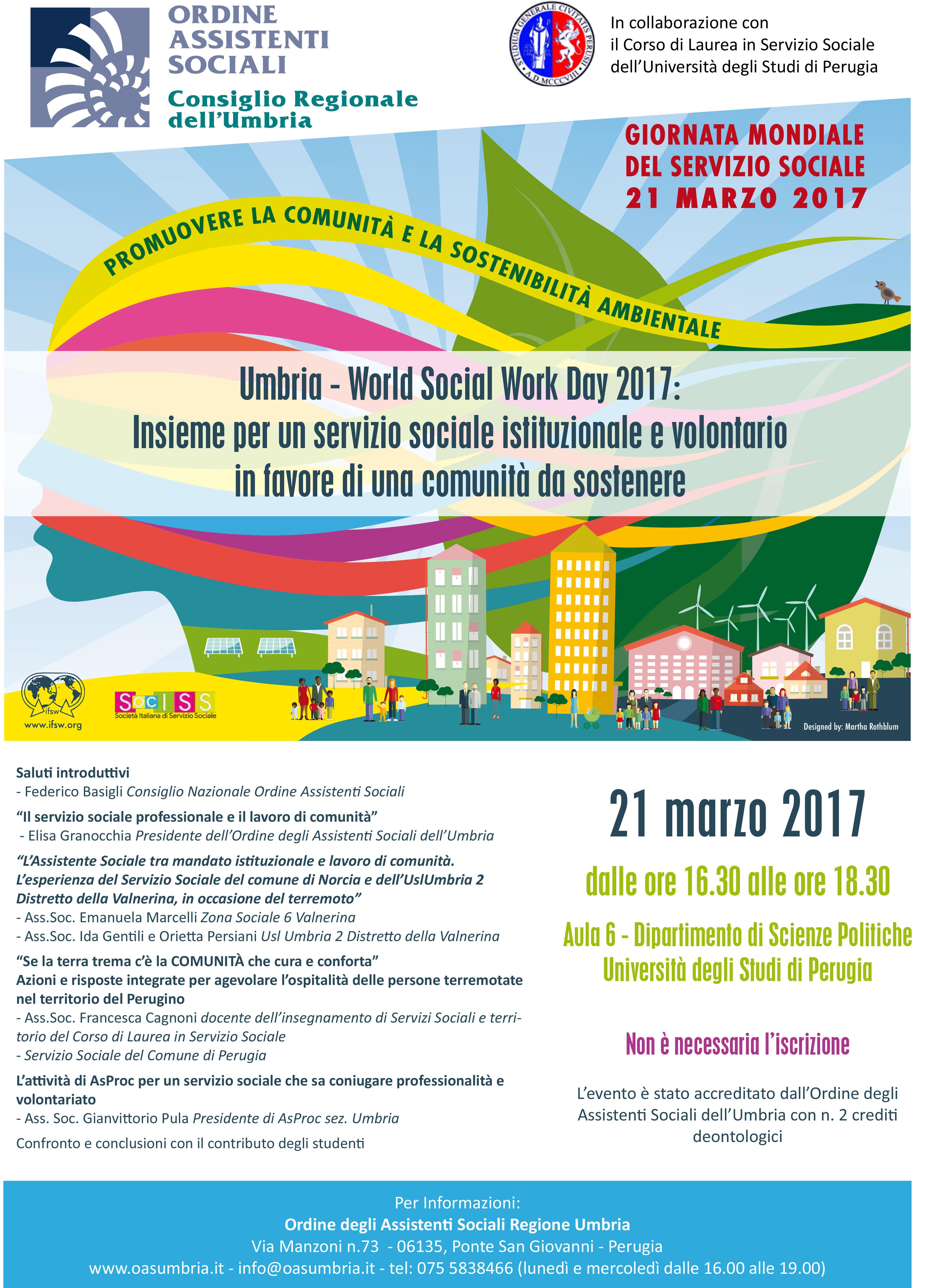 Giornata Mondiale del Servizio Sociale, il 21 e il 22 marzo