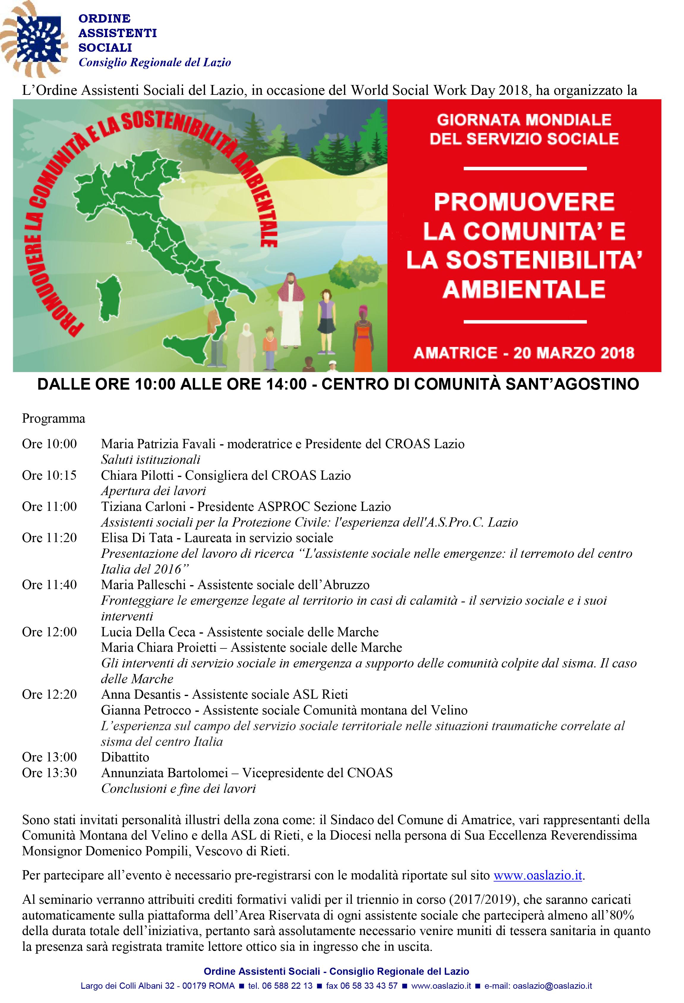 Ordine assistenti sociali Lazio: ad Amatrice Giornata Mondiale del Servizio Sociale