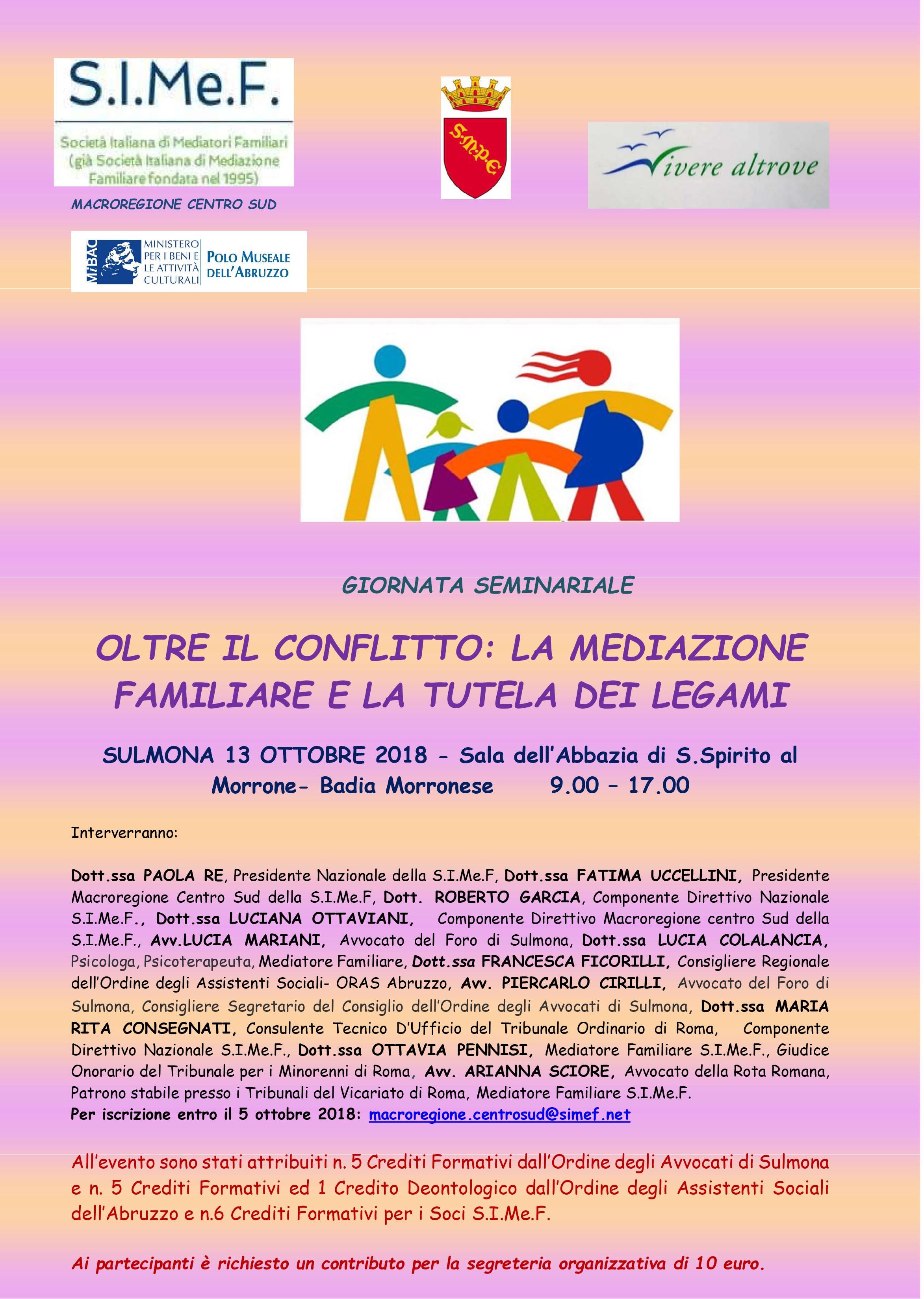 Giornata Seminariale a Sulmona il 13 ottobre