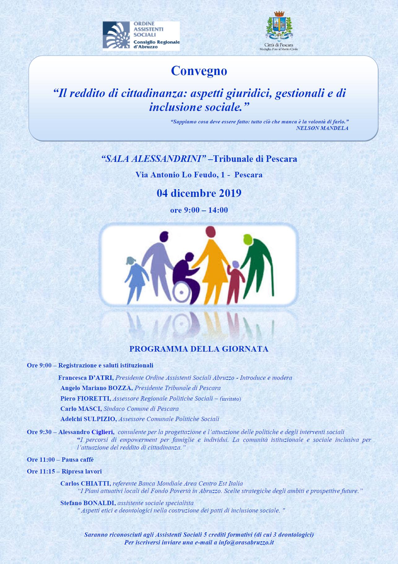 Convegno: Il reddito di cittadinanza: aspetti giuridici, gestionali e di inclusione sociale