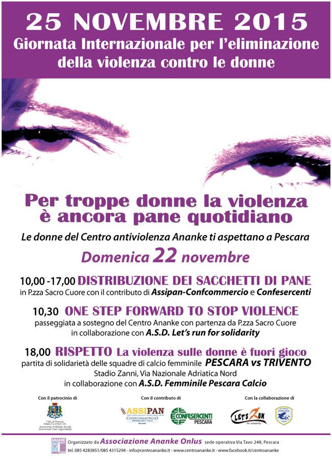 25 Novembre - Giornata per l'eliminazione della violenza contro le donne